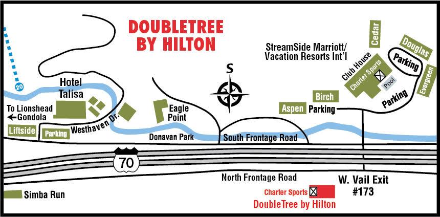 Vail Ski Rental | Charter Sports | Doubletree by Hilton Vail Hilton Hotel Map on